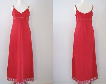 60s Bright Red Evening Gown w/ Empire Waistline and Sequinned Trim, M // Vintage Evening Dress