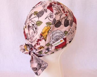 Scrub Cap - Surgical Hat - Nurse, Doctor, Tech, Vet, Tie Back Scrub Hat, Raspberries on Pink Background with Yellow