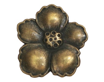 2 Hibiscus 7/8 inch ( 23 mm ) Metal Buttons Antique Brass Color
