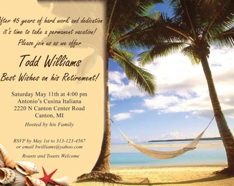 "vacation theme Retirement Party Invitation ""Printable"""