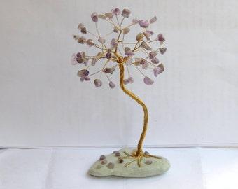 Amethyst wire tree sculpture, wedding anniversary gift, Aquarius Birthstone, February Birthstone, gemstone tree, crystal tree, gemstone tree