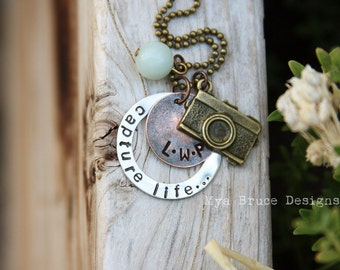 Vintage inspired CAPTURE LIFE ... NEW mixed metal Photographer necklace