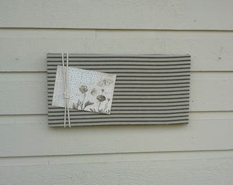 Linen Ticking Pin Board, Black and Tan striped Bulletin Board with macrame cord detailing, ready to ship for gift giving or order custom