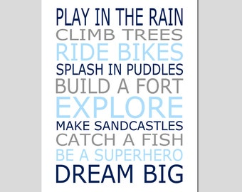 Boy Rules Boy Nursery Wall Art Play In The Rain Build A Fort Playroom Rules Baby Boy Nursery Art Quote - 8x10 Print - CHOOSE YOUR COLORS