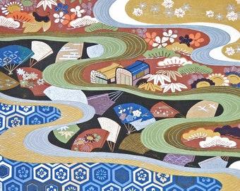 "Antique Art Japanese Textile Pattern Woodblock Print Meiji Period 1868-1912 Obi Sash Wall Decor 14 1/4"" x 11 3/4"" Gallery Wall FREE SHIPPING"