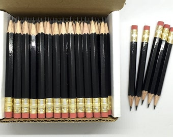 144 Black Mini short half Hexagon Golf #2 Pencils With erasers Pre-Sharpened Made In the USA - Non Toxic Latex Free Express Pencils TM