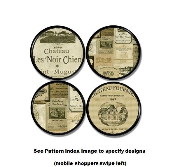Wine Label Kitchen Cabinet Knobs Bottle Stamps Chateau