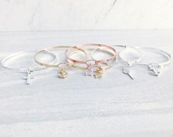 Charm Hook Bangle Bracelet, Modern Minimalist Bangle, Choice of Silver, Gold or Rose Gold, Anchor, Cross, Star, Key, Layering Bangle