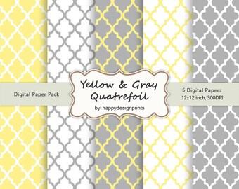 Yellow Gray Quatrefoil Moroccan Tiles Pattern Wallpaper