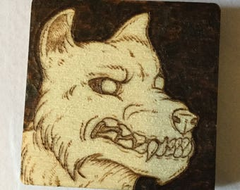 4cm Square Pyro Wolf Magnet