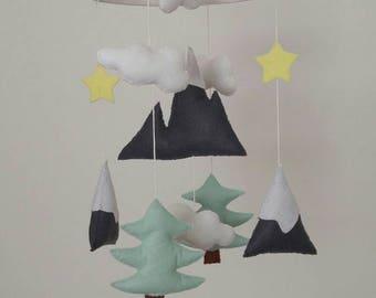 Mountain baby mobile,  mint fir trees and lemon yellow stars nursery mobile, woodland nursery mobile