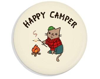 Happy Camper Pin Back Button Lumber Jack Cat Pin Pinback Button Cute Gift Lumberjack Bottle Opener Funny Gift