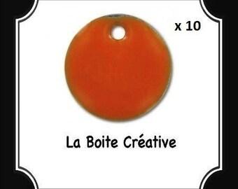 10 round sequins epoxy enamel orange 10 mm