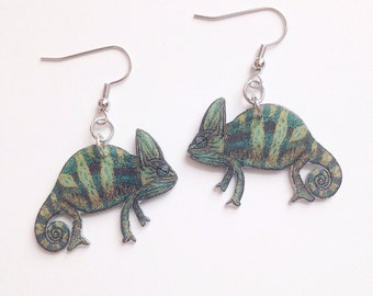 Handcrafted Plastic Chameleon Reptile Lizard Earrings Jewelry Accessories Fashion Novelty Unique Gift Gifts for Her