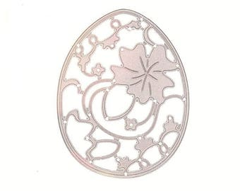 Cut scrapbooking Easter egg with grape leaf