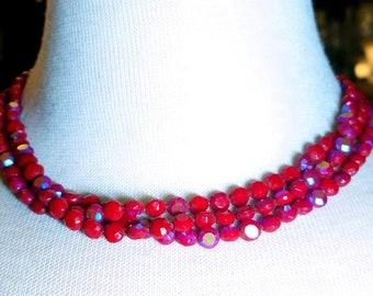 30% Off Sale Red Aurora Borealist Triple Strand Vintage Glass Necklace