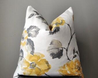 Pillow Cover, Decorative Pillow Cover, Throw pillows, 18x18, 20x20, 22x22 pillow cover, yellow gray floral pillow, home decor