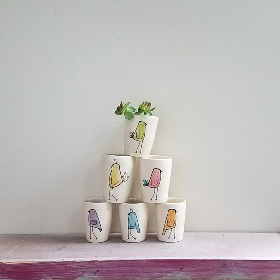 Set of Six Mini Bird Vases by Catherine Reece