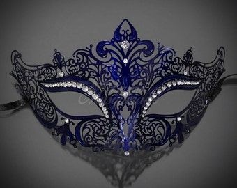 Navy Blue Laser Cut Venetian Mardi Gras Masquerade Mask with Sparkling Rhinestones - Made with Light Metal