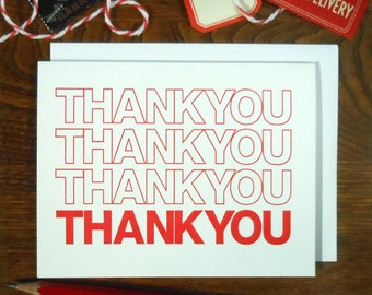 letterpress thank you bag greeting card shopping bag red & white