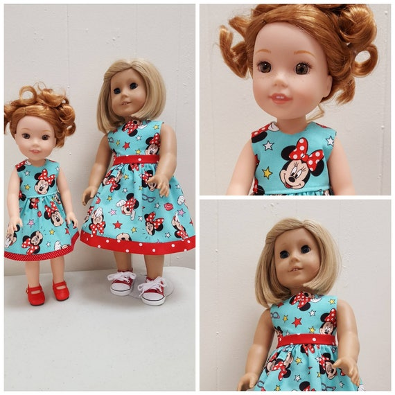 Minnie Mouse  Willie Wisher Dress 14.5 Inch Doll or American girl doll