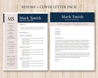Resume Template and Cover Letter Template (2 Pack) - Modern Resume Template Word, Cover Letter Template, Word Cv, MS Word *INSTANT DOWNLOAD*
