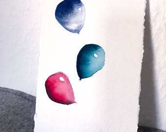 Balloons watercolor birthday card