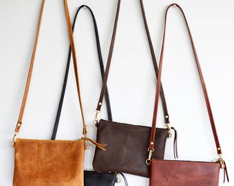 Leather crossbody bag  / Minimalist bag / Small leather bag / Leather purse / Simple leather bag - Choose your colour