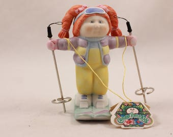 """New in Box 1985 Porcelain Cabbage Patch Figurine. """"Hitting The Slopes"""" Style No. 5038"""