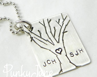 Personalized hand stamped Love Tree Necklace in sterling Silver