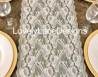 Ivory Lace Table Runner/ 6ft long x 12in Wide / Overlay/Weddings/Ivory Weddings/Tabletop decor/centerpiece/Wedding Decor