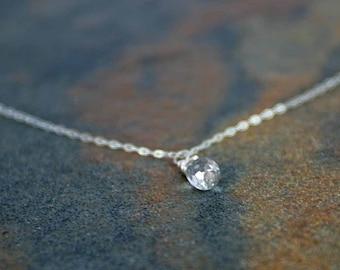 April Birthstone Necklace, White Topaz Necklace, White Topaz Briolette Necklace, April Jewelry, Birthstone Jewelry, Birthday Necklace