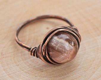 Rhodochrosite Ring, Crystal Ring, Gemstone Ring, Wire Wrapped Crystal, Healing Crystal, Boho Crystal Ring
