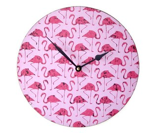 SILENT Pink Flamingo Wall Clock, Funky Flamingo Clock, Unique Wall Clock, Pink Clock, Flamingo Wall Decor, Nursery Clock, Fun Clock - 2079