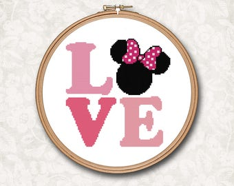 Pink Minnie Mouse Love Quote Text Counted Cross Stitch Pattern - PDF Digital Download