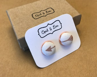 Fabric Button Earrings / Arrow / Rose Gold