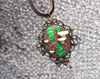 Mushroom Pendant , Leather Cord