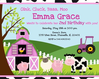 Farm Girl Birthday Party Invitation - Digital or Printed