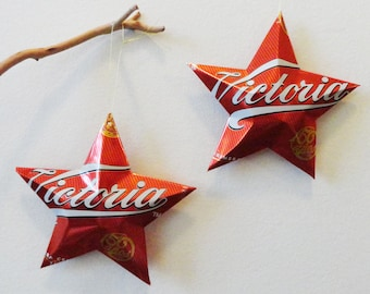 Victoria Beer Stars Christmas Ornaments Aluminum Can Repurposed Mexican Beer