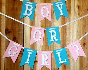 Boy or Girl Banner, Gender Reveal Party, Baby Shower Banner