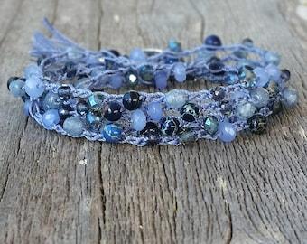 Boho Crocheted Wrap Bracelet Blue Beads, Wrap Around Bracelet, Layering Bracelet, Summer Jewelry crochet, Gift for Her, Stacking Bracelet