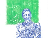 Linocut portrait of Emmy Noether, legendary mathematician wrote produced Noether's Theorem, foundational to theoretical physics