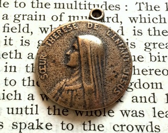 "St. Therese of the Child Jesus - The Little Flower - 7/8"" - Sterling Silver or Bronze - Vintage Replica - Made in the USA (M-1294)"