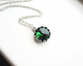 Swarovski Green Crystal Necklace Green Crystal Necklace Moss Green May Birthstone Sterling Silver Pendant Wedding Bridal Bridesmaids Gift