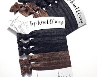 Black Hair Ties - Brown Hair Ties - Hair Elastic Bracelet - Ribbon Hair Ties - Hairbands for Women - Ponytail Holder - Elastic Hair Ties