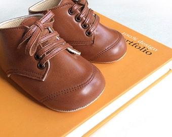 Pre Walker Michael Tan - Baby Boy Shoes - Handmade Baby Shoes - Tan Baby Shoes - Baby Soft Sole Shoes