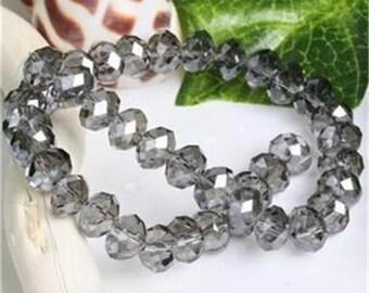 40 - 4mm x 6mm medium gray cut glass beads