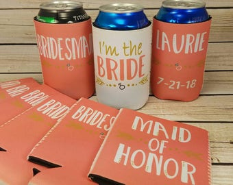 coral wedding party can coolers / maid of honor/ bridesmaid / glitter bride tribe can cooler / bachelorette party favors
