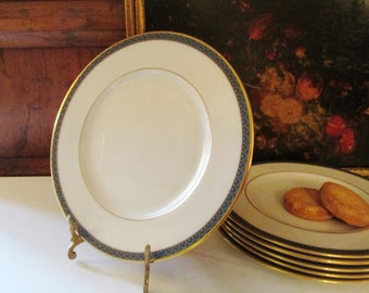 Set of Six Lenox Patriot Bread and Butter Plate, Porcelain Canape Plate, Gold Trim, Green Border