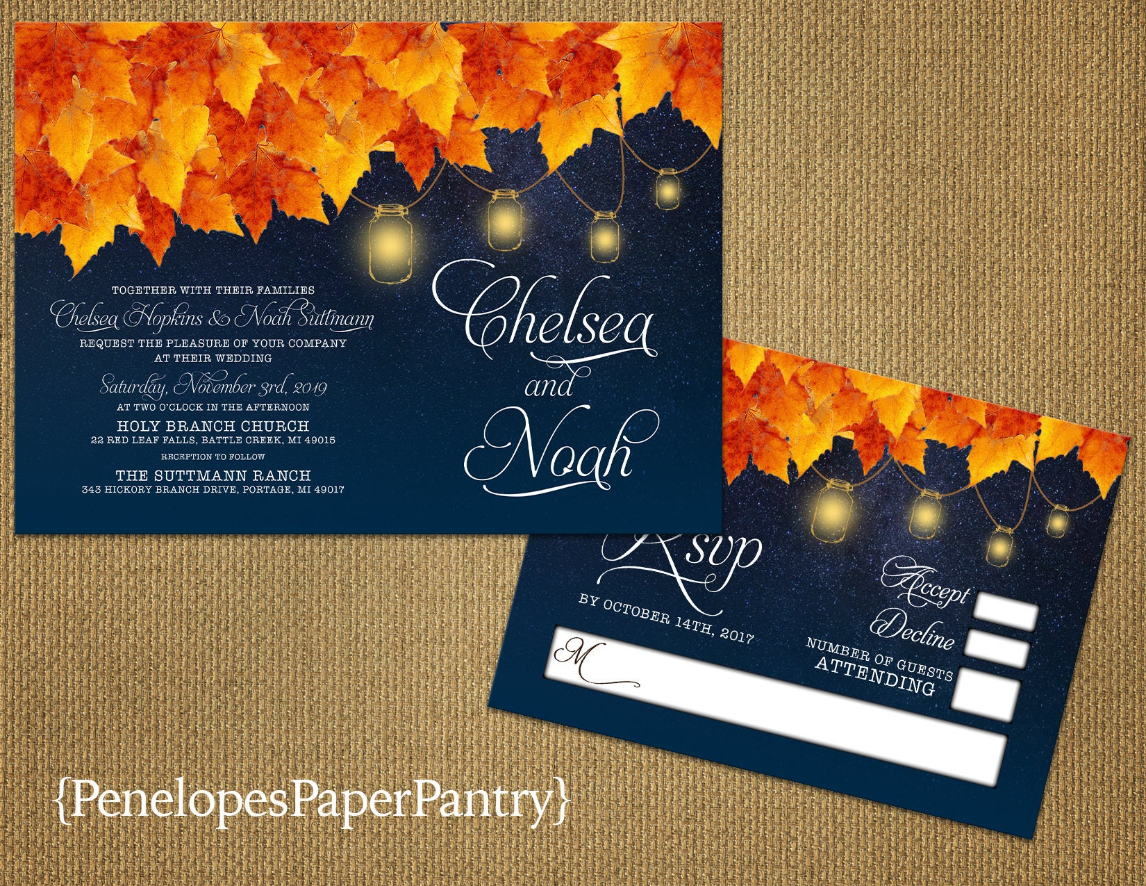 Rustic Navy Fall Wedding InvitationNavy BlueBurnt Orange